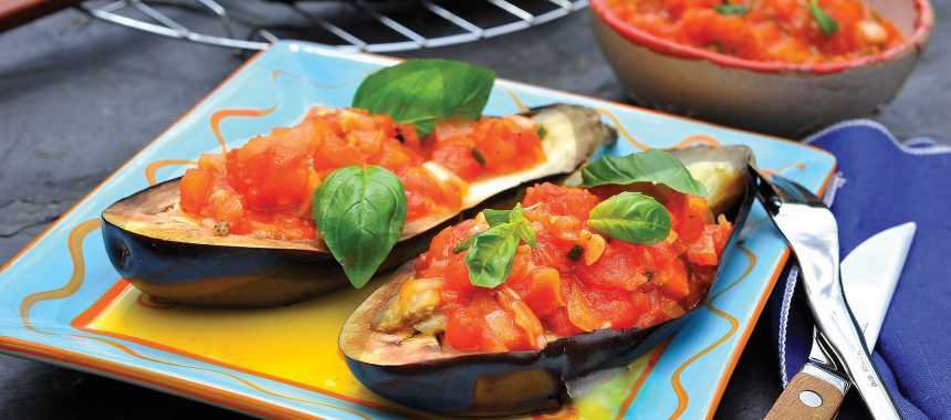 Grilled Aubergine (Eggplant) with Garlic and Tomatoes
