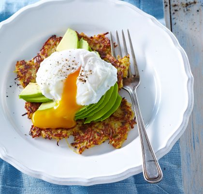 Sweet potato pancakes with avocado and poched egg