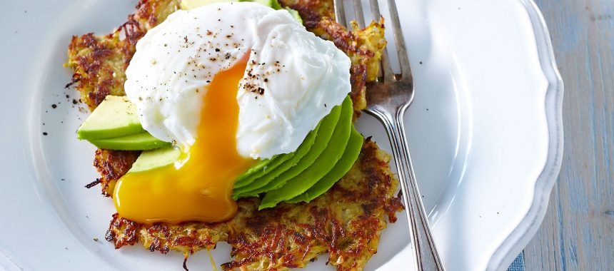 Sweet potato pancakes with avocado and poached egg