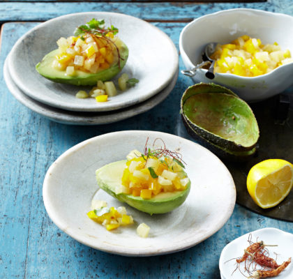 Avocado with pineapple salsa