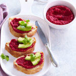 Hummus with beetroot and avocado