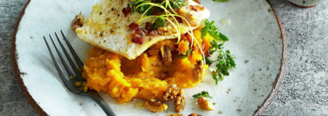 Sweet potato mash with pike perch (zander)